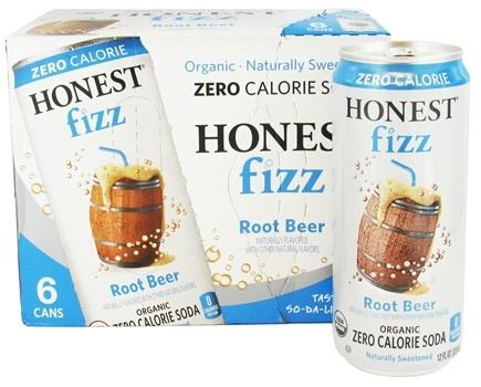 DROPPED: Honest Fizz - Organic Zero Calorie Soda Root Beer - 6 x 12 oz. Cans