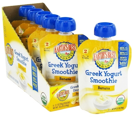 DROPPED: Earth's Best - Organic Greek Yogurt Smoothie Banana - 3.1 oz. CLEARANCE PRICED
