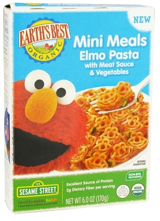 DROPPED: Earth's Best - Mini Meals Elmo Pasta with Meat Sauce & Vegetables - 6 oz. CLEARANCE PRICED