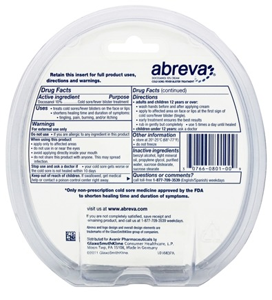 Cold Sore/Fever Blister Treatment Docosanol 10% Cream Tube - 0 07 oz  by  Abreva