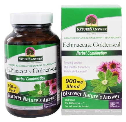 Nature's Answer - Echinacea Herb and Root & Goldenseal Root Herbal Blend - 90 Vegetarian Capsules