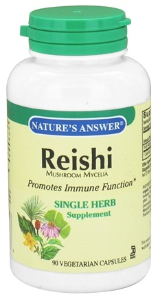 DROPPED: Nature's Answer - Reishi Mushroom Mycelia Single Herb Supplement - 90 Vegetarian Capsules CLEARANCE PRICED
