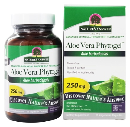 Nature's Answer - Aloe Vera Phytogel Once Daily Single Herb Supplement - 90 Vegetarian Capsules