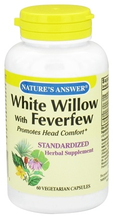 DROPPED: Nature's Answer - White Willow with Feverfew - 60 Vegetarian Capsules CLEARANCE PRICED