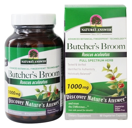 Nature's Answer - Butcher's Broom Root Single Herb Supplement - 90 Vegetarian Capsules