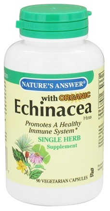 DROPPED: Nature's Answer - Organic Echinacea Single Herb Supplement - 90 Vegetarian Capsules CLEARANCED PRICED