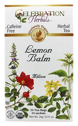 Celebration Herbals - Organic Caffeine Free Lemon Balm Herbal Tea - 24 Tea Bags
