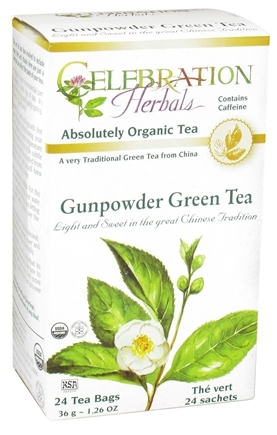 DROPPED: Celebration Herbals - Organic Gunpowder Green Herbal Tea - 24 Tea Bags CLEARANCE PRICED