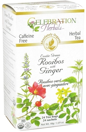 Zoom View - Organic Caffeine Free Exotic Green Rooibos with Ginger Herbal Tea
