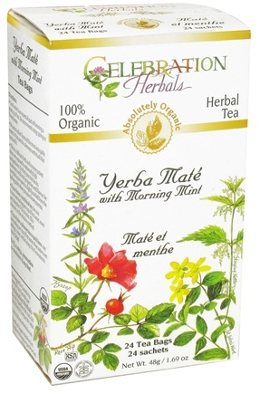 DROPPED: Celebration Herbals - Organic Yerba Mate with Morning Mint - 24 Tea Bags CLEARANCE PRICED