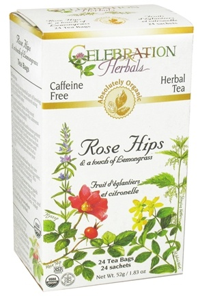 DROPPED: Celebration Herbals - Organic Caffeine Free Rose Hips & A Touch of Lemongrass - 24 Tea Bags CLEARANCE PRICED