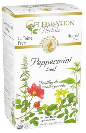 DROPPED: Celebration Herbals - Organic Caffeine Free Peppermint Leaf Herbal Tea - 24 Tea Bags CLEARANCE PRICED