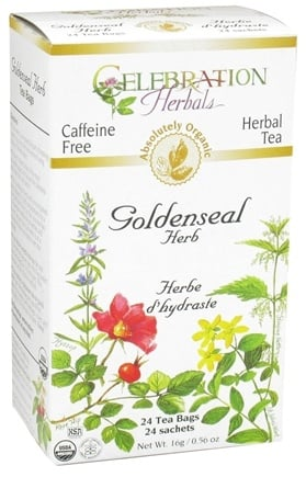 DROPPED: Celebration Herbals - Organic Caffeine Free Goldenseal Herb Herbal Tea - 24 Tea Bags CLEARANCE PRICED
