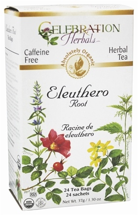DROPPED: Celebration Herbals - Organic Caffeine Free Eleuthero Root Herbal Tea - 24 Tea Bags CLEARANCE PRICED