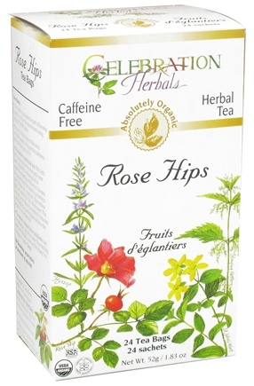 DROPPED: Celebration Herbals - Organic Caffeine Free Rose Hips Herbal Tea - 24 Tea Bags CLEARANCE PRICED