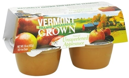 DROPPED: Vermont Village - Natural Applesauce Unsweetened - 4 x 4 oz. Cups CLEARANCE PRICED