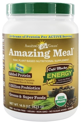 DROPPED: Amazing Grass - Amazing Meal Powder 15 Servings Cafe Mocha - 14.1 oz.