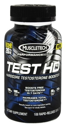 DROPPED: Muscletech Products - Test HD Performance Series Hardcore Testosterone Booster Bonus Size - 108 Caplets