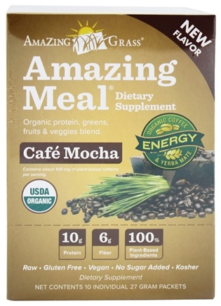 DROPPED: Amazing Grass - Amazing Meal Powder Packets Cafe Mocha - 10 x 27g Packets