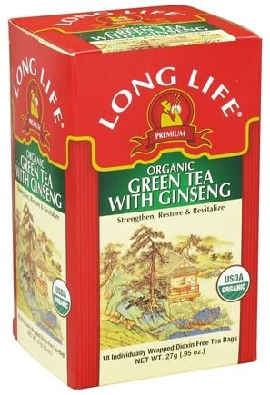DROPPED: Long Life Teas - Organic Green Tea with Ginseng - 18 Tea Bags CLEARANCE PRICED