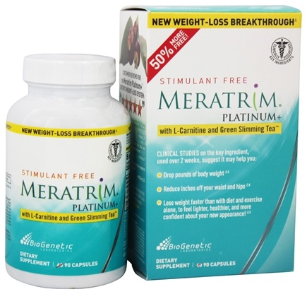 DROPPED: BioGenetic Laboratories - Meratrim Platinum+ Stimulant Free with L-Carnitine & Green Slimming Tea - 90 Capsules