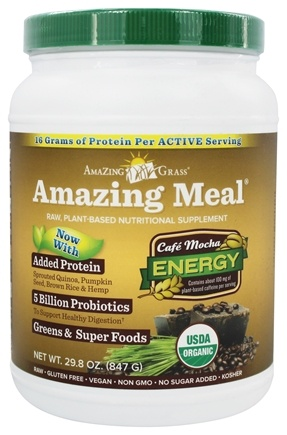 DROPPED: Amazing Grass - Amazing Meal Powder 30 Servings Cafe Mocha - 28.3 oz.