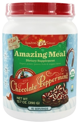 DROPPED: Amazing Grass - Amazing Meal Powder Holiday Blend 15 Servings Chocolate Peppermint - 13.7 oz.
