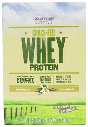 DROPPED: Reserveage Nutrition - Grass-Fed Whey Protein Vanilla - 10 x 1 oz. Packets