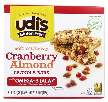 DROPPED: Udi's - Gluten-Free Soft n' Chewy Granola Bars Cranberry Almond - 5 Bars