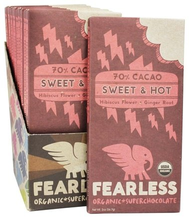 DROPPED: Fearless Chocolate - Organic Superchocolate Bar 70% Cacao Sweet & Hot Hibiscus Ginger - 2 oz.