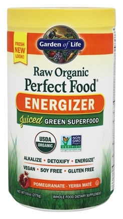 Garden of Life - Raw Organic Perfect Food Energizer Pomegranate- Yerba Mate - 9.8 oz.