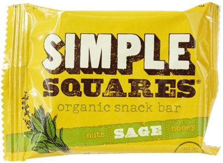 Simple Squares - Organic Gluten-Free Nuts & Honey Nutrition Bar Sage - 1.6 oz.