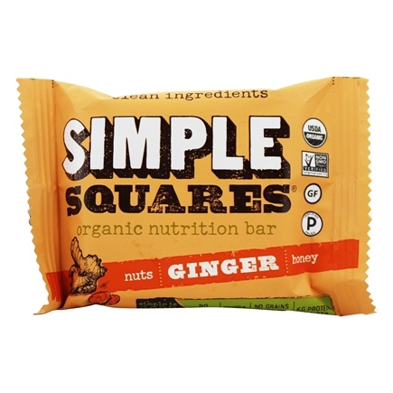 Simple Squares - Organic Gluten-Free Nuts & Honey Nutrition Bar Ginger - 1.6 oz.
