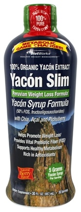 DROPPED: Diet Works - Yacon Slim Yacon Syrup Formula Natural Berry Flavored - 32 oz.