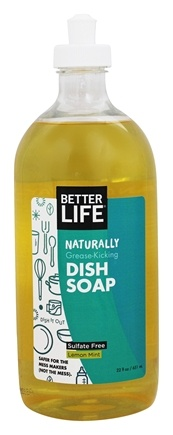 Better Life - Naturally Grease-Kicking Dish Soap Lemon Mint - 22 oz. Formerly Dish It Out Clary Sage + Citrus