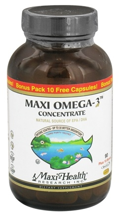 DROPPED: Maxi-Health Research Kosher Vitamins - Maxi Omega-3 Concentrate 90 + 10 Bonus Pack - 100 Softgels