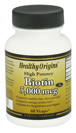 Healthy Origins - High Potency Biotin 5000 mcg. - 60 Vegetarian Capsules