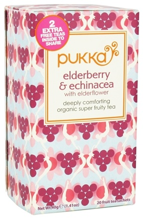 DROPPED: Pukka Herbs - Organic Super Fruity Tea Elderberry & Echinacea with Elderflower - 20 Tea Bags