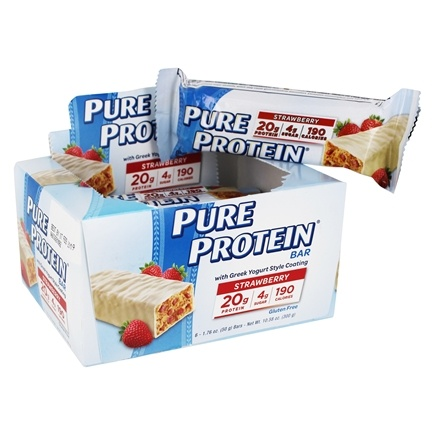 Pure Protein - High Protein Bar with Greek Yogurt Style Coating Strawberry - 6 x 1.76 oz. Bars