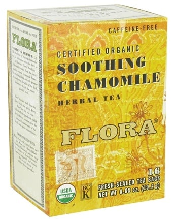 DROPPED: Flora - Certified Organic Herbal Tea Soothing Chamomile Caffeine-Free - 16 Tea Bags