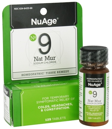 DROPPED: NuAge - #9 Nat Mur Sodium Chloride Homeopathic Tissue Remedy - 125 Tablets