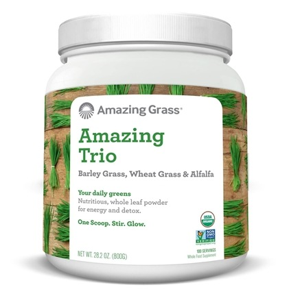 Amazing Grass - The Amazing Trio Barley, Wheat Grass & Alfalfa Whole Food Drink Powder 100 Servings - 28 oz.