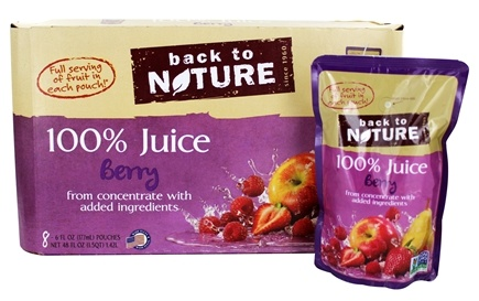 DROPPED: Back To Nature - 100% Natural Juice 8 x 6 oz. Pouches Berry