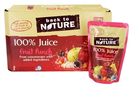 DROPPED: Back To Nature - 100% Natural Juice Fruit Punch 8 Pouches (8 x 6 oz. / 177 mL Pouches)