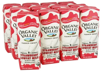 DROPPED: Organic Valley - Organic 1% Lowfat Milk Strawberry - 12 x 8 oz. Cartons - CLEARANCE PRICED