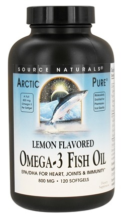 DROPPED: Source Naturals - Arctic Pure Omega-3 Fish Oil Lemon Flavored 800 mg. - 120 Softgels