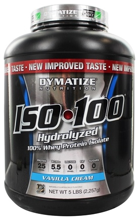 DROPPED: Dymatize Nutrition - ISO 100 100% Hydrolyzed Whey Protein Isolate Vanilla Cream - 5 lbs.