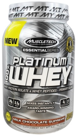 DROPPED: Muscletech Products - Platinum Essential Series 100% Whey Milk Chocolate Supreme - 2.01 lbs.