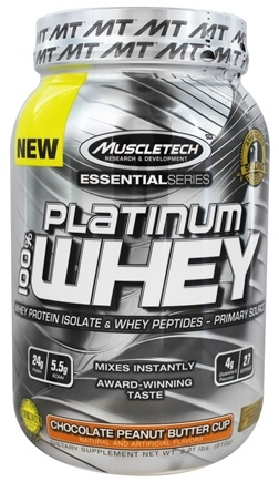 DROPPED: Muscletech Products - Platinum Essential Series 100% Whey Chocolate Peanut Butter Cup - 2.01 lbs.