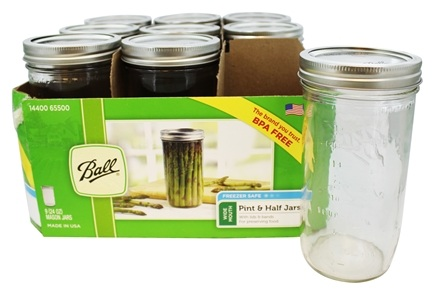 Ball - Wide Mouth 24 oz. Pint and Half Mason Jars - 9 Count